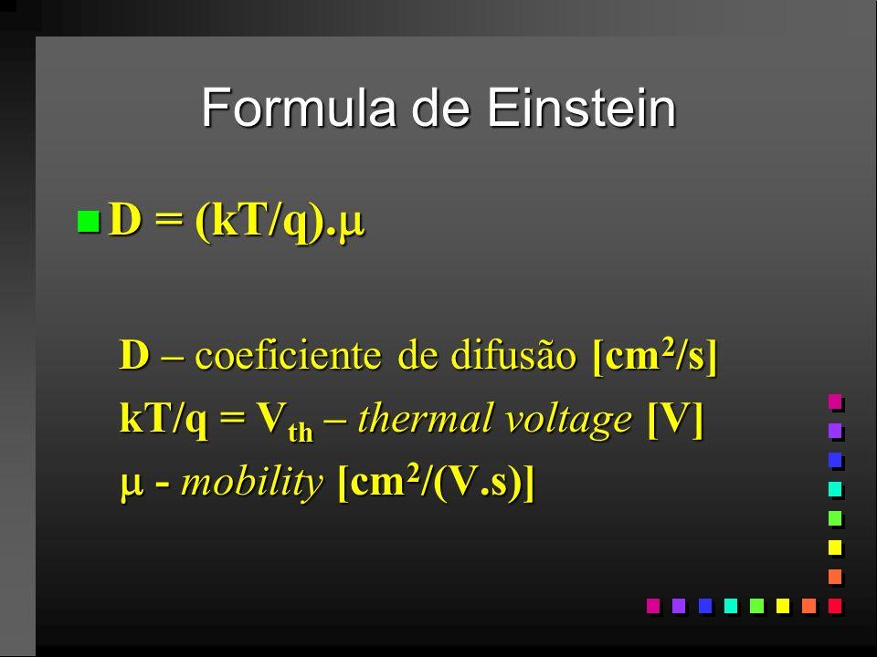 Formula de Einstein D = (kT/q). D – coeficiente de difusão [cm2/s]